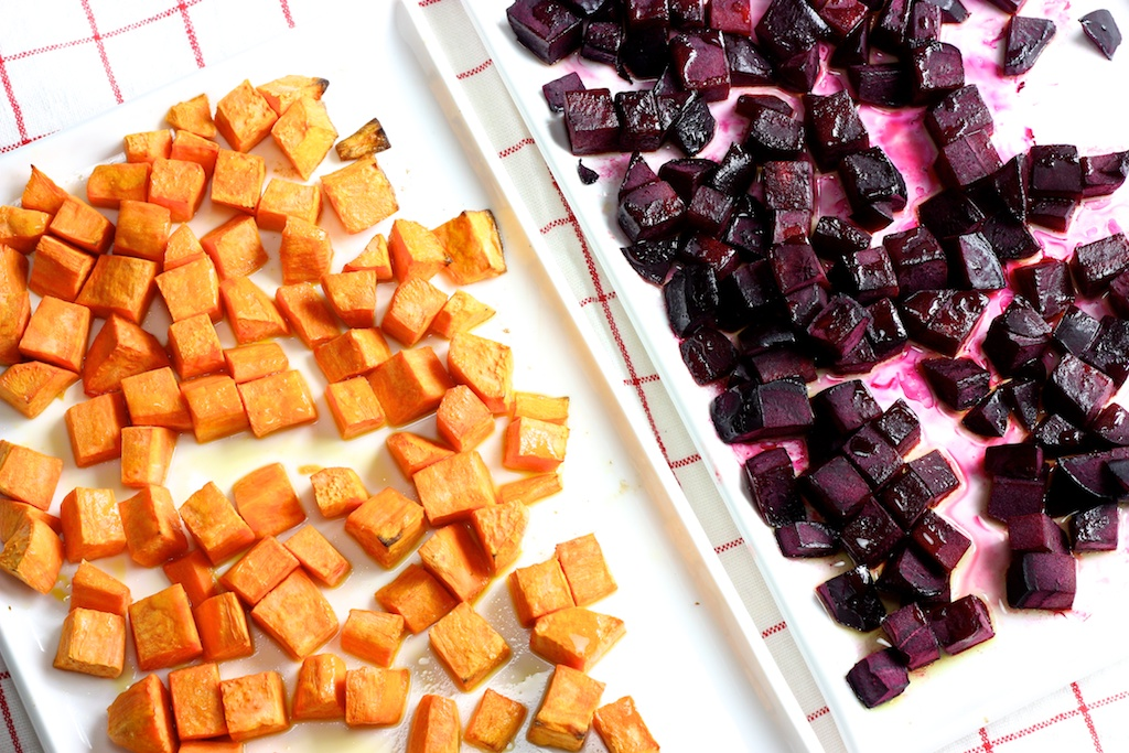 Süßkartoffel-Rote Beete- Rucola- Granatapfel- Ziegenkäse1