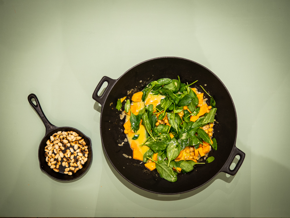 Grünes Süßkartoffel-Curry